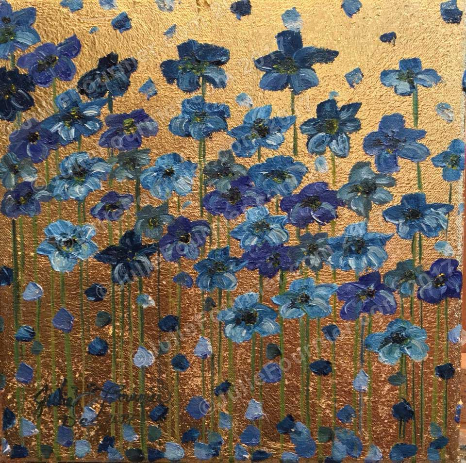 Gold Leaf with blue poppies
