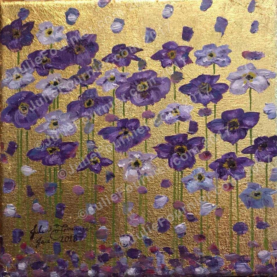Gold Leaf with purple poppies