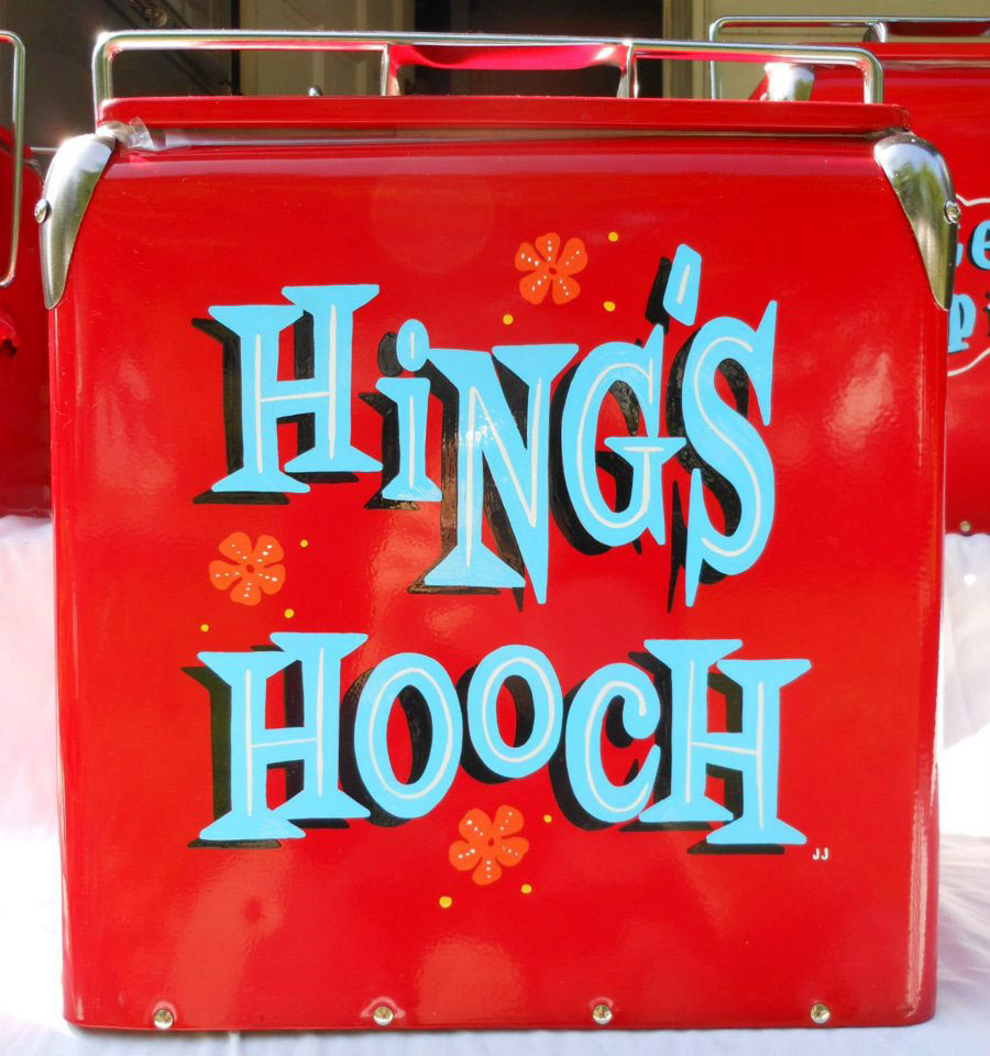 Pinstripes by Julie Fournier lettering Hing's Hooch cooler