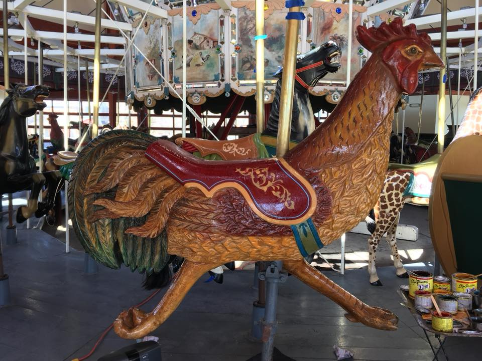 Restored carousel animal, a rooster, from The Henry Ford Museum, Greenfield Village, Dearborn, MI
