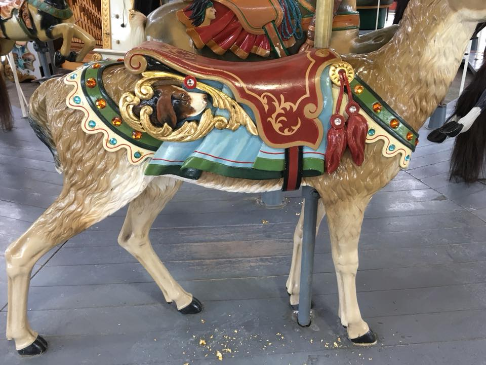 Restored carousel animal, with gold leaf, a reindeer, from The Henry Ford Museum, Greenfield Village, Dearborn, MI