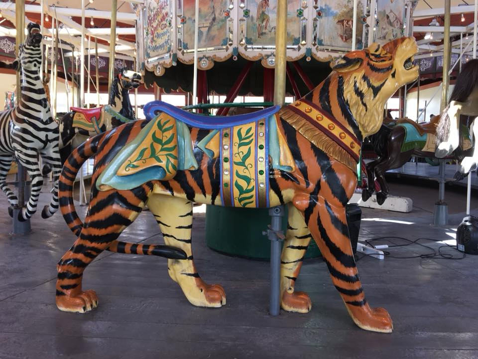 Restored carousel animal, a tiger, from The Henry Ford Museum, Greenfield Village, Dearborn, MI