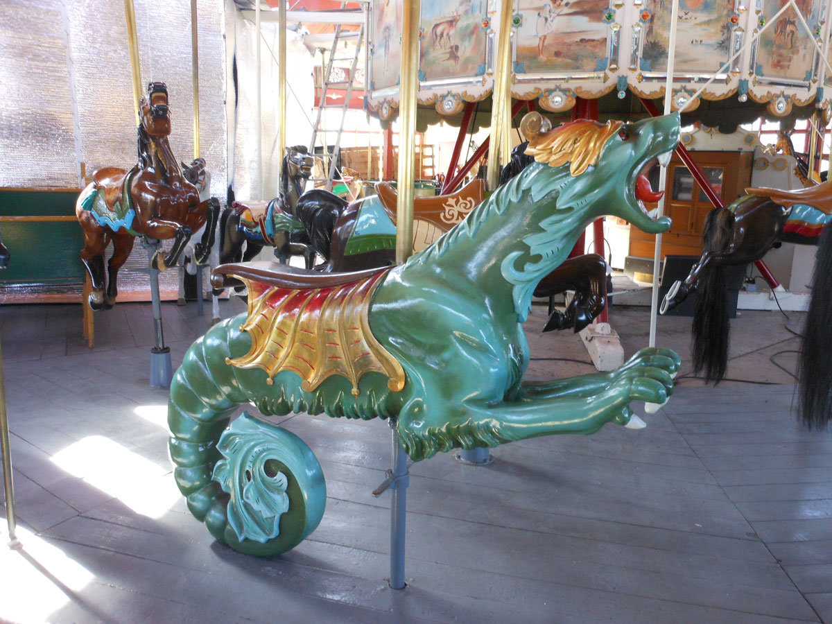 Restored carousel Sea Monster from The Henry Ford Museum, Greenfield Village, Dearborn, MI