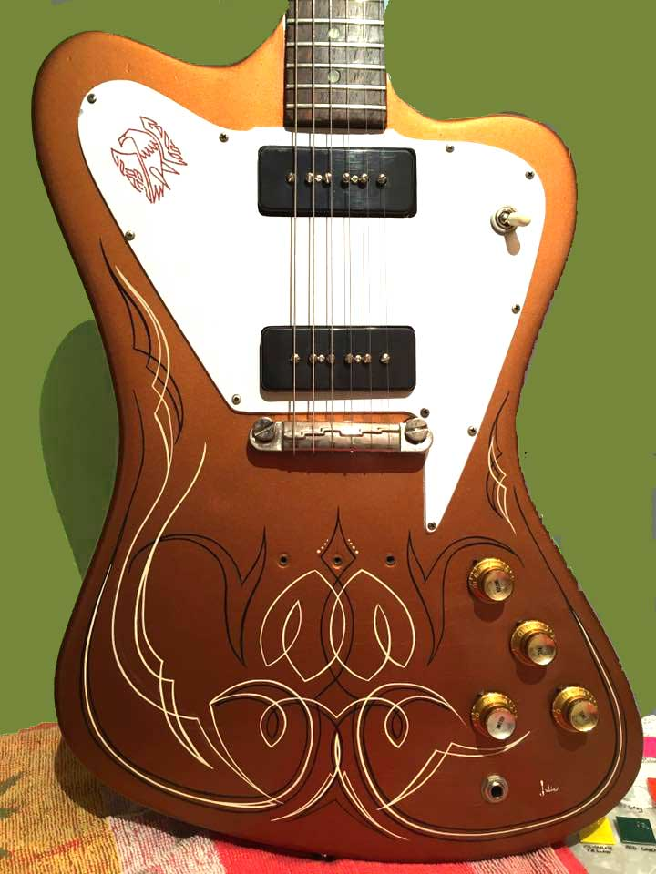 pinstriping Gretsche guitar  by Julie Fournier