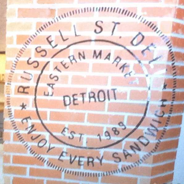 Russell Street Deli sign on wall at Ford Field