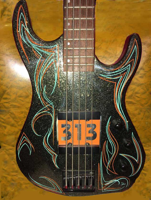 pinstriping bass guitar by Julie Fournier