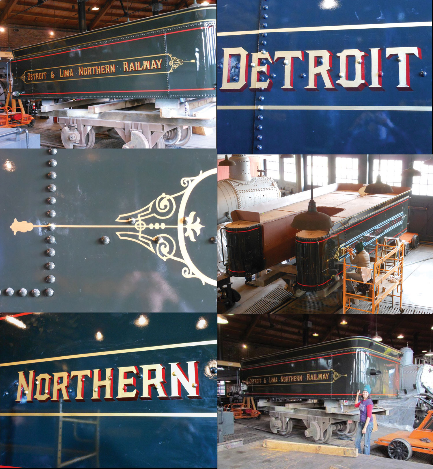 Pinstripes by Julie Fournier on an 1897 tender tank for the Detroit & Lima Northern Railway locomotive at The Henry Ford Museum