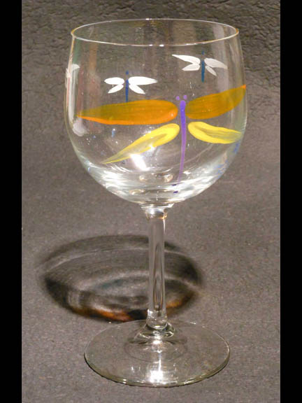 Orange & Yellow Dragonfly  Red Wine glass
