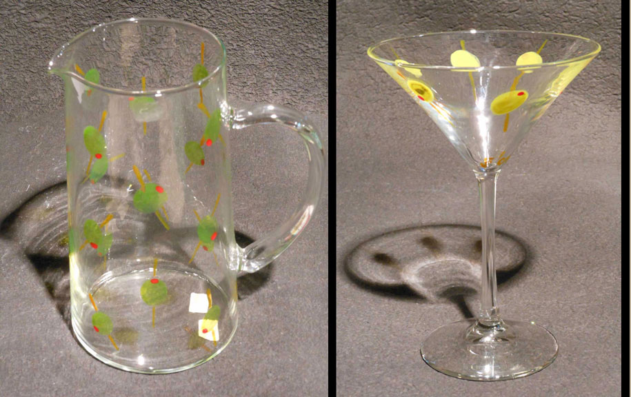 Olives martini glass