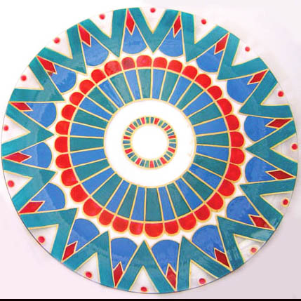 Painted glass platter